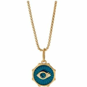 "GOLD ""PROTECTED"" EVIL EYE COIN PENDANT"